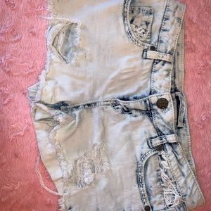 VanillaStar Distressed WhiteWash Denim Shorts